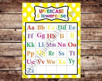 Printable Uppercase & Lowercase Alphabet Chart - Yellow - DIGITAL FILE