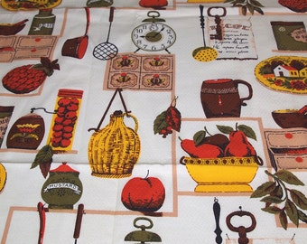 vintage 50s novelty barkcloth fabric, featuring great kitchen design, 1 yard, 14 inches