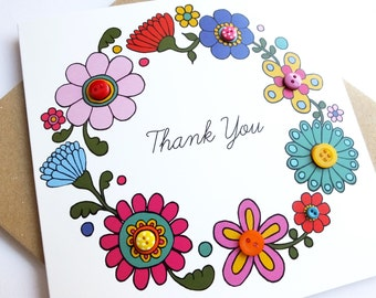 Thank you, buttons, bright, floral, wreath, aqua, pink, yellow, multicolour, blue, embellished, flower power,  60s, uk