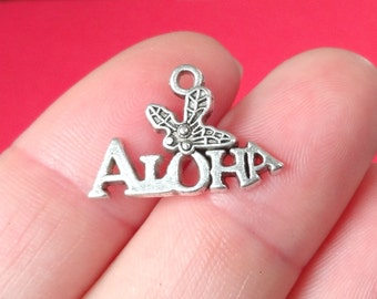 10 ALOHA Charms (approximately) 14x21x2mm, Hole: 1mm