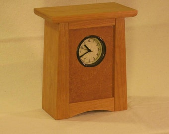 Arts & Crafts, Mission Style Clock - Cherry