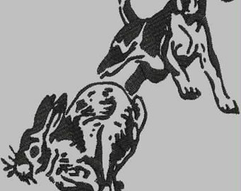 Beagle Chasing a Rabbit Digitized Embroidery Design