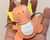 Ready Stock - Small size - Puff the Dragon cowhide leather charm ( Peach )