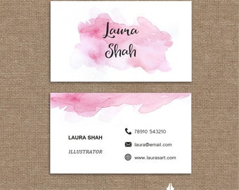 Printable stylish elegant water colour pink business card, calling card for your business