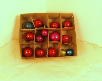 Vintage Christmas Miniature Ornament Balls Blue Gold Red Set of 12 in Box