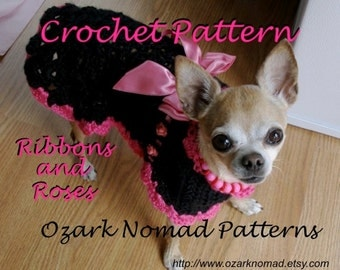 Immediate Download PDF Crochet Pattern for Ribbons and Roses Dog Sweater Dress