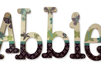 Beautiful Butterfly Butterflies Custom Hand Painted Nursery Letters Nursery Wall Hanging Letters Wood  Name Nursery Decor