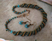 Gorgeous Hand Stitched Beaded Rope Necklace with Earrings       Turquoise Brown Copper         1.99 Shipping USA