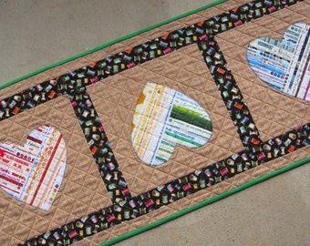 YOU'RE MINE! Selvage Heart Applique Table Runner Quilt from Quilts by Elena