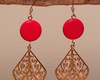 Vintage Red, Brass Filigree Earrings