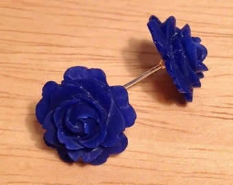 Vintage navy flower post earrings