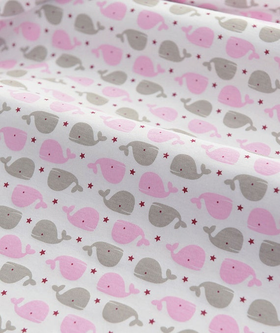 3988 - Whale Star Cotton Jersey Knit Fabric - 70 Inch (Width) x 1/2 Yard (Length)