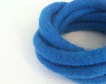 Sky Blue Felted Bracelet Twisted Chunky Blue Modern Fiber Art Yoga OOAK