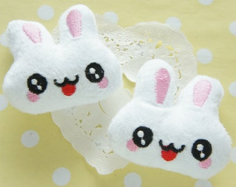 2 pcs Kawaii Big Bunny Face Doll Applique 55mm57mm) White MK011