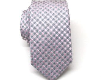 Mens Ties Silver Gray Pink Checkers Skinny Necktie