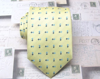 Mens Ties. Necktie Yellow and Blue Mens Tie