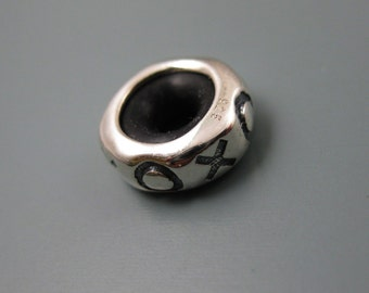 European Charm, Bead, Spacer -.925 Sterling Silver XOXO Charm Bead - SKU: 220053