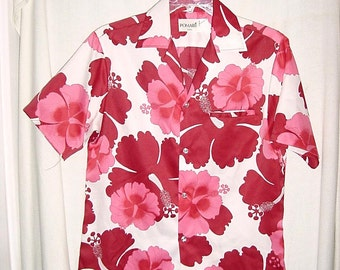 Vintage 70s Poly Hawaiian Shirt M Pink Maroon Flower Print His Hers