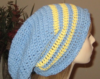 Cotton Extra Long Slouchy Beanie Dread Tam Hat Blue with Yellow stripes
