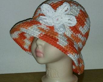 Crochet Childs Cotton Sunhat in Poppy