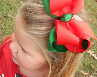 Red and Emerald Green Large Double Stacked Grosgrain Hair Bow