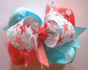 Large Starfish Coral, Ocean Blue, and White Triple Loop Grosgrain 5 inch Hair Bow Big Girls Hairbow Clip