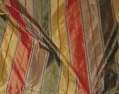Gold Red Olive Stripe Silk TAFFETA Fabric - remnant