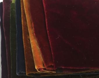 Silk VELVET Rainbow Jewel Tones Fabric Sample Set Remnants Lot