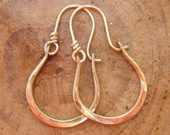 Artisan Petite Gabriela 14kt Gold Hammered Hoops