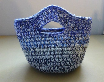 Catch All Basket Bag with Handles Shades of Blue