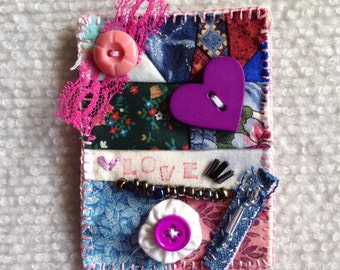 Valentine ACEO mixed media textile art by Lisa