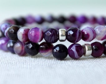 Purple Berry Agate Bracelet and Sterling Silver / Purple Grape Stone Stretch Bracelet / Wrist Candy for Summer / Bohemian Summer Bracelet