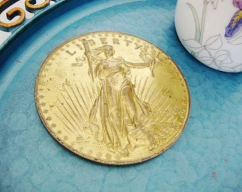 Vintage metal gold coin paperweight coaster flying eagle lady liberty