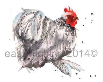 Watercolor CHICKEN Print, Kitchen Art, Rooster, 8x10 print, watercolour, chicken art