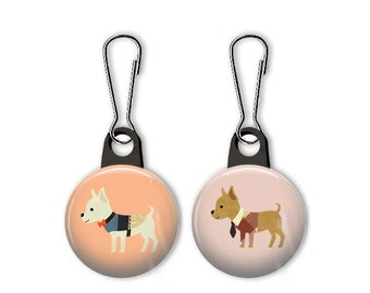 Chihuahua with shirt and tie zipper pull.  Chihuahua with bow tie.  Chihuahua dog charm.