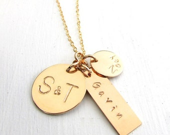 Gold Family Necklace | Gold Family Charm Necklace | Family Charm Necklace | Gold Name Necklace | Mommy Necklace | 14K GF | NORAH ERiaDesigns