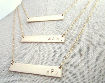 Skinny Bar Necklace, Gold Skinny Bar, Nameplate, Thin Bar Name Necklace, 14K Gold Filled Jewelry by E. Ria Designs