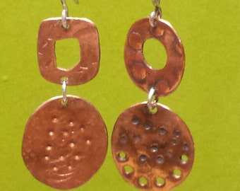 Copper dangle earrings with texture EAD2015 #15 and 16