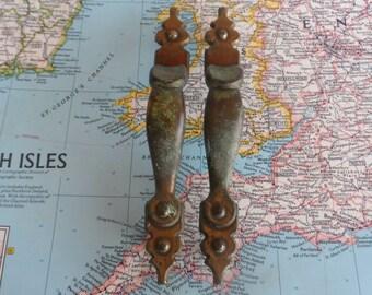SALE! 2 vintage slim vertical brass metal handles