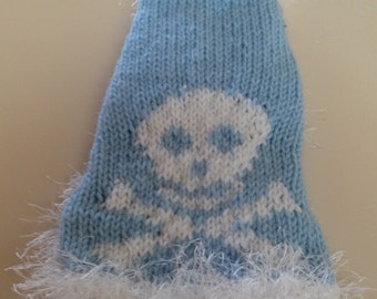 Skull and Cross Bones Hand Knit Sweater Chihuahua Yorkie Small Dog Maltese Pet Clothing