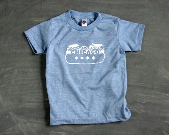 chicago hotdog screen printed kids t shirt gift for boys
