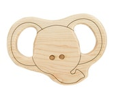Wood Toy Elephant Teether, personalized wooden baby toy