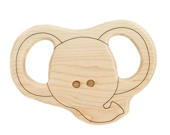 Elephant Teether Wood Toy Teether