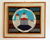 Vintage Nautical Needlepoint Ship in Panama Canal 21 x 18 Inch