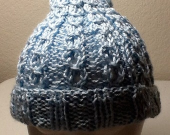 Hand Knitted Hat light Blue Child to Adult size