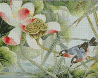 BIRDS AND FLOWERS cross stitch pattern No.279