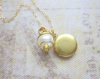 Tiny Locket Necklace, Vintage Pearl, 14k Gold Filled Chain, Brass, Wedding Jewelry, Bridal Jewelry, Bridesmaid Gift, Small Locket, For Her
