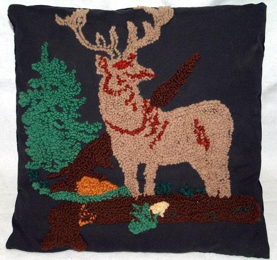 Vintage Hooked Rug Pillow Deer Stag Elk On Black By
