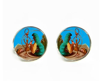 Alice in Wonderland Smoking Caterpillar small post stud earrings Stainless steel hypoallergenic 12mm Gifts for her