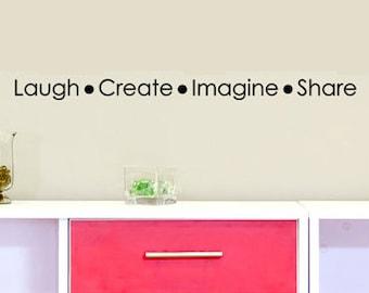 Laugh Imagine Create Share Kids Playroom Decor Vinyl Wall Decal Words, 8 x 30, Craft Room Wall Decorations, homeschool, Kids Wall Decals